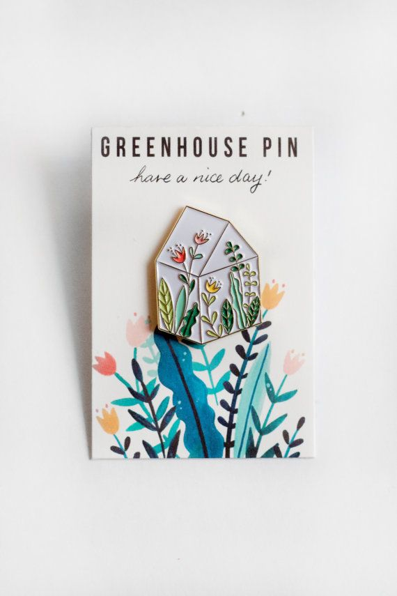 Green House Soft Enamel Pin For all the plant lovers out there! 1 inch pin Each pin is presented on an illustrated backing Gold plated Black back fixing Please read the shipping options carefully. Tracking NOT included unless requested. :) Have a nice day! For wholesale please email me for information! Thank you! ©Steffi Lynn Have a Nice Day