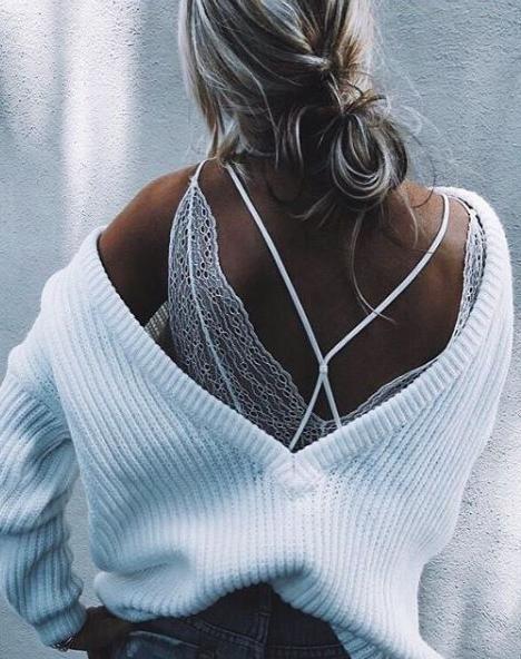 cross back top. lace V back. details.