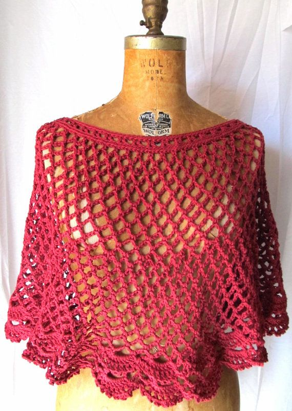 Womens crochet lace capelet / poncho in deep red by CoffyCrochet SOLD