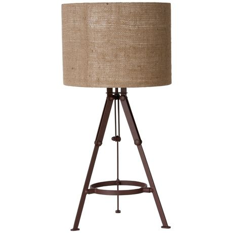 Horden Tripod Table Lamp  like the calico shade the base would be better in wood