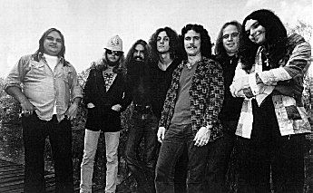 "The Orginal Lynyrd Skynyrd, 1975,  this photo taken near the Hell House just outside of Green Cove Springs, Florida, during the ""Nuthin' Fancy"" album cover shoot.   (L-R) Ed King, Leon Wilkeson, Artimus Pyle, Allen Collins, Billy Powell, Ronnie VanZant, Gary Rossington"