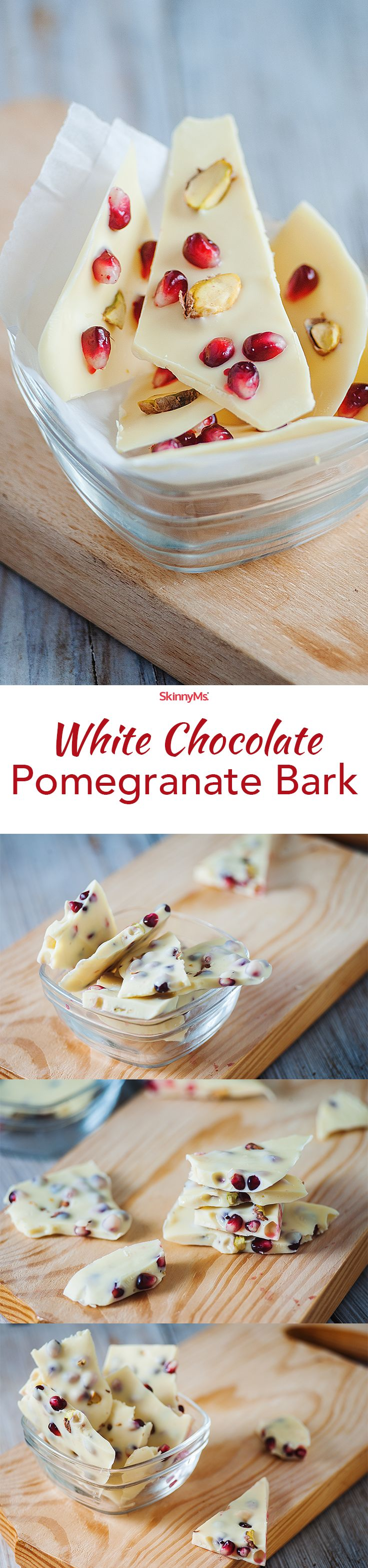 If you're a fan of white chocolate, you'll LOVE our White Chocolate Pomegranate Bark. Super easy to make and it's so addicting. :) Try it tonight!