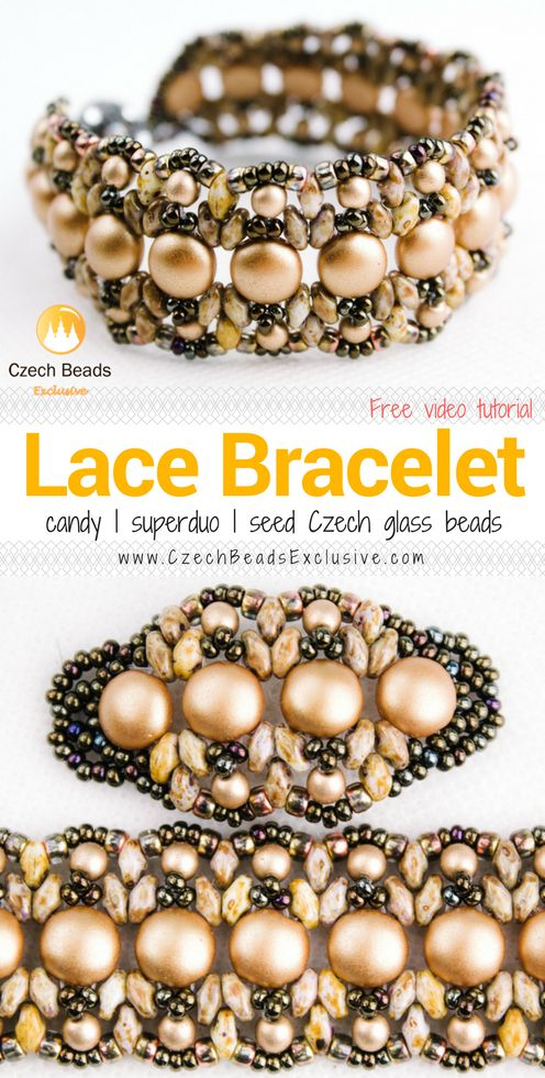 Candy, SuperDuo and Seed Czech Glass Beads - LACY BRACELET Pattern Free Video Tutorial  SAVE it!  www.CzechBeadsExclusive.com #czechbeadsexcluisve #czechbeads