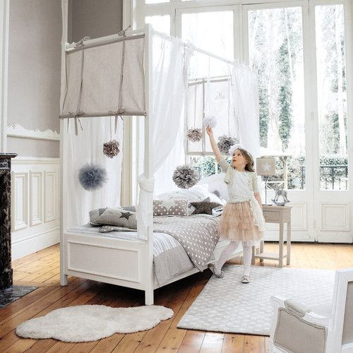 300 maison du monde lit baldaquin enfant 90 x 190 cm en bois blanc chambre cl mence. Black Bedroom Furniture Sets. Home Design Ideas