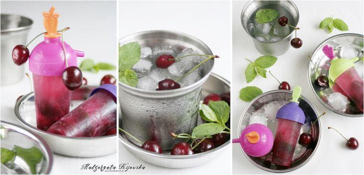 Wodne lody, delikatnie miętowe z dodatkiem czereśni