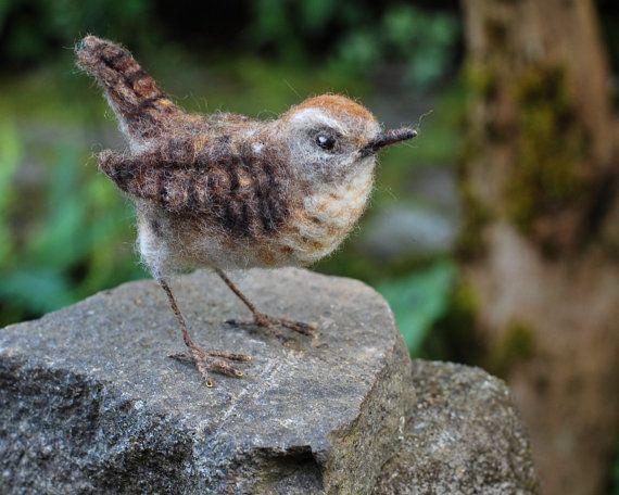 Naald Gevilte Wren-Bird sculptuur winterkoning wilde vogels, Backyard Bird, Songbird, Collectible, natuur Decor