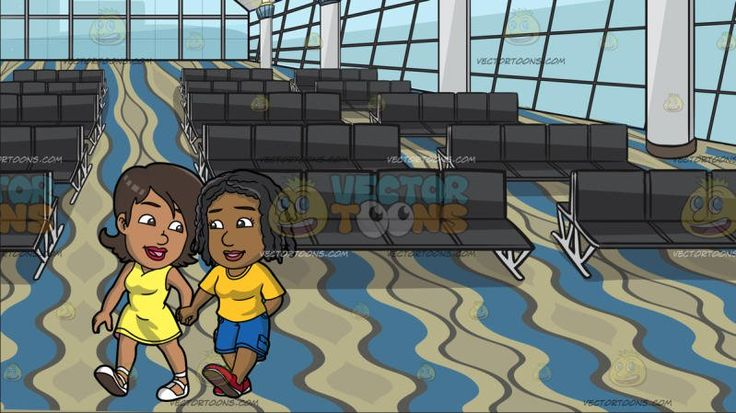A Black Lesbian Couple Holding Hands At Airport Departure Waiting Area :  A black (African American) woman with brown hair wearing a yellow sleeveless dress and white shoes looking lovingly at her lover with braided black hair wearing a yellow shirt blue cargo pants and red shoes as they walk together hand in hand. Set in a big room with glass windows white with blue illuminated columns dark gray waiting benches and a wavy blue brown and beige carpeted floor that serves as a boarding gate…