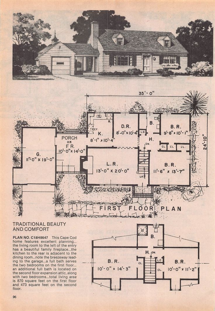 317 best old plans images on Pinterest | Vintage houses, House ...