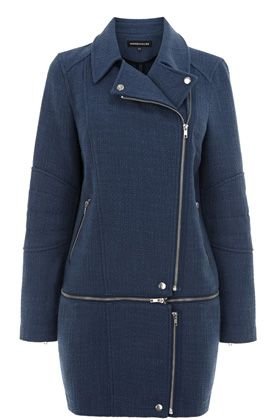 TWEED ZIP OFF BIKER COAT #WAREHOUSE