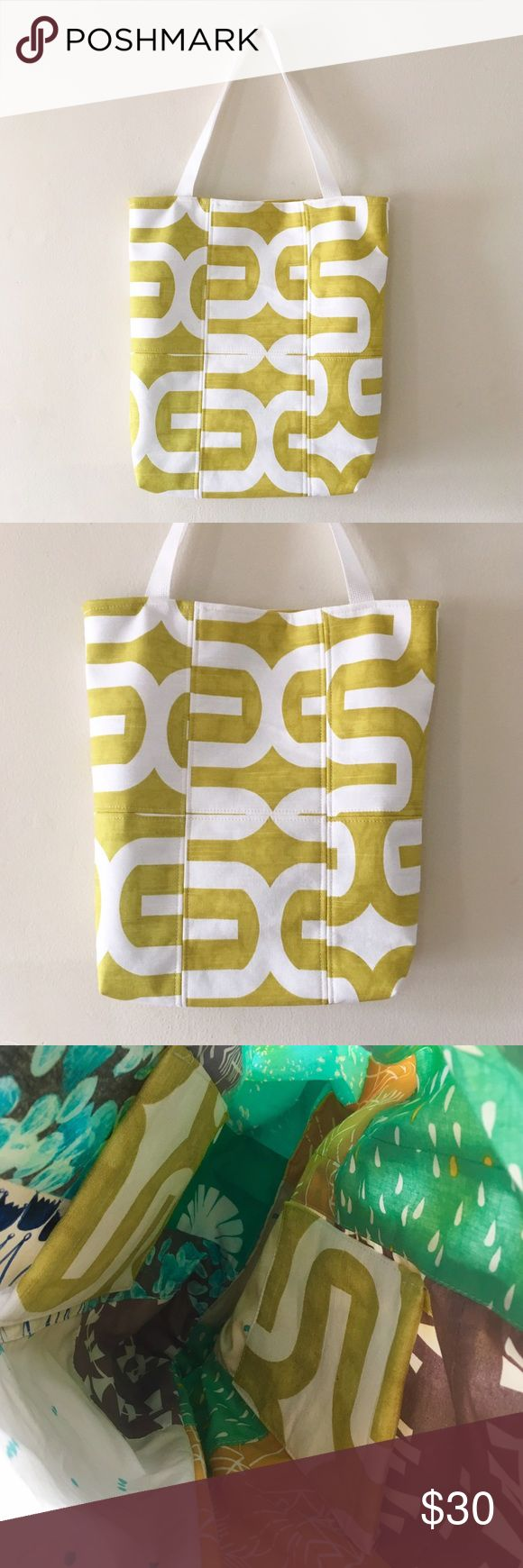 🆕Yellow Geometric Tote Bag - HANDMADE Lovely tote bag made by my father. It's dimension are 16 inches tall by 14 inches wide. It's fleece fusible. The last photo is of the inside. Lovely for any occasion. Urban Outfitters Bags Totes
