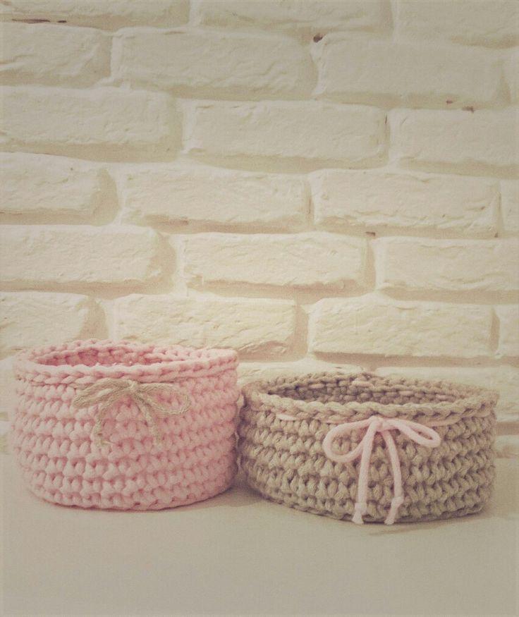 Handmade crochet basket / koszyk szydełkowy / koszyk ze sznurka bawełnianego