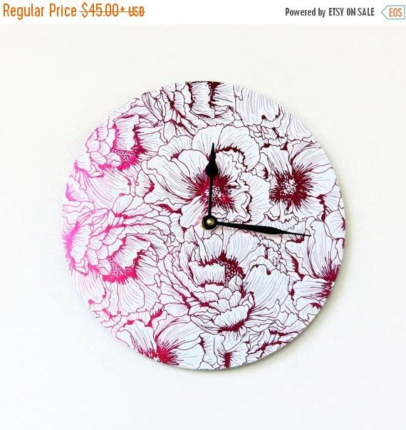 CIJ Sale Wall Clock Pink Foil Art Trending Ready To by Shannybeebo