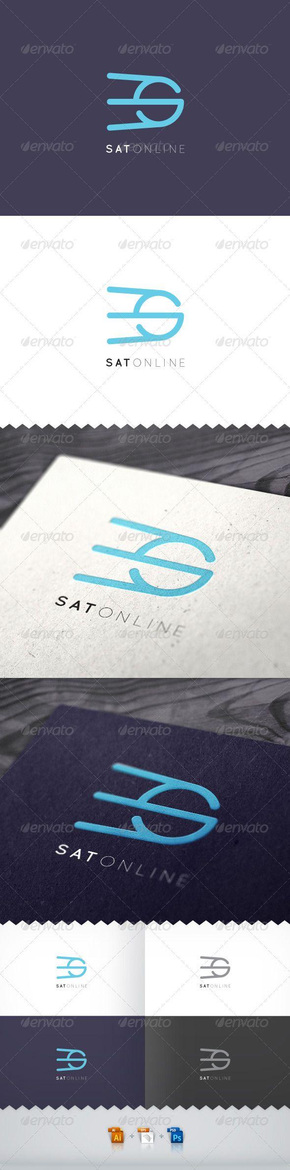 Sat Online Logo — Photoshop PSD #online #shape • Available here → https://graphicriver.net/item/sat-online-logo/2005158?ref=pxcr