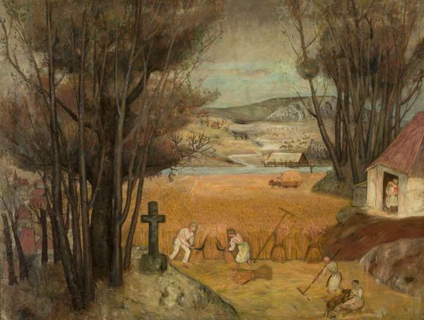 Żniwa w polu - Tadeusz Makowski