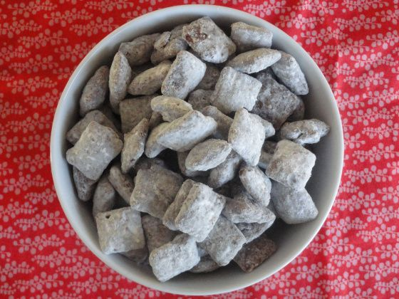 "Original recipe for ""puppy Chow"" This is the best one, I add valentine M & M's and sprinkles and give them as valentines, all the kids LOVE them, and moms love it that they don't have little stuff to keep around...seriously moms, no one wants the little toys and goodie bag toys;)"
