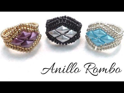Anillo Rombo con Rocallas y DiamonDuo - Técnica Herringbone - - YouTube