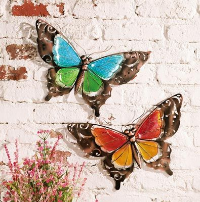 Set of 2 Stained Glass Butterfly Wall Art