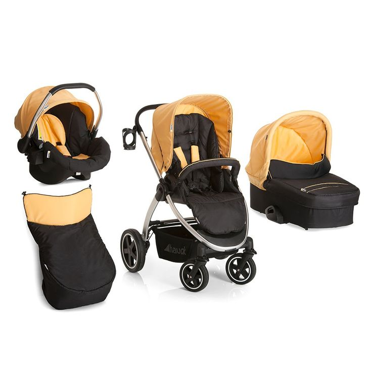 The Hauck Priya Trio modular Travel System is suitable from birth and includes Pushchair, Carrycot and Group 0+/1 Car Seat. Buy yours in Caviar/Banana here now!