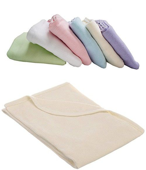 TL Care 100% Cotton Swaddle/Thermal Blanket, Ecru
