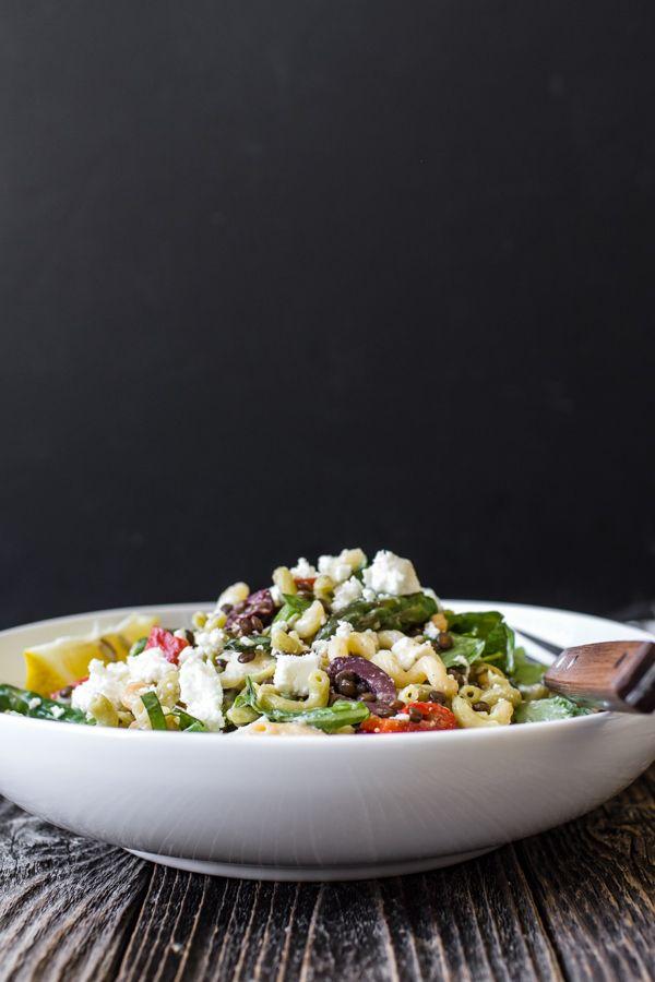 Summer Pasta Salad (lentils, artichokes, lemon,asparagus, red pepper, olives, arugala, basil)