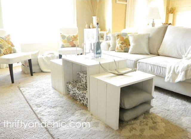 DIY nesting coffee table. You can arrange these in multiple ways to fit what you need