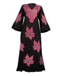 Senegalese Designed Maxi Swiss Lace Dress - Black Multi
