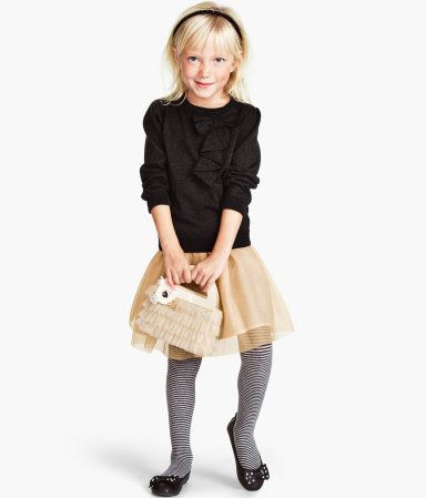 Lace tulle skirt under $5 at H&M, whoa. (And those striped tights are so cute!)Holiday Dresses, H M, Tulle Skirts, Festivals Girlsfashion, Products Details, Gold Skirts, H&M, Black Gold, Girls Outfit