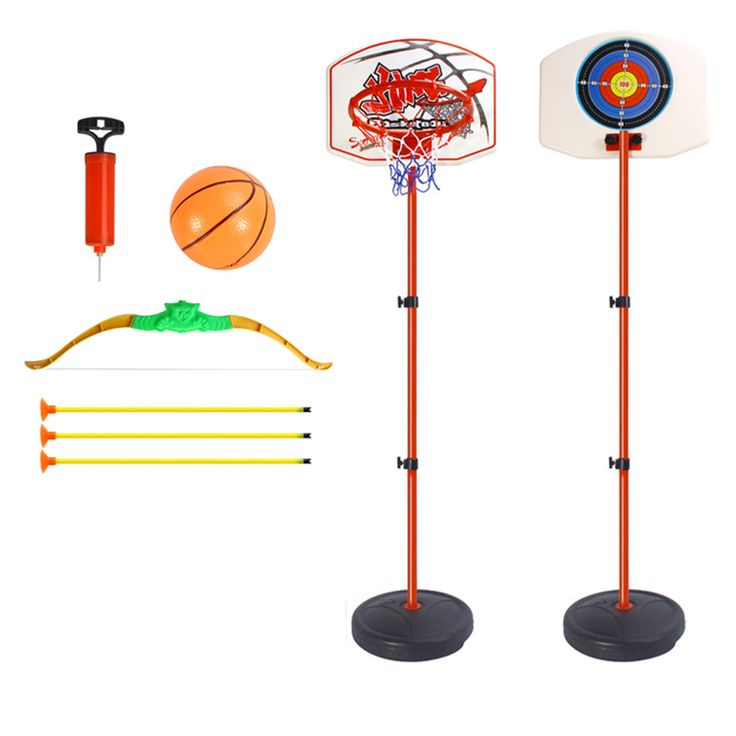 Multi-functional Adjustable Basketball System Suits Basketball Hoop with Bow and Arrow Dart Kids Game #Affiliate