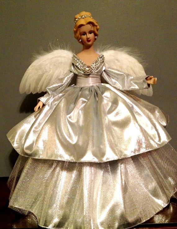 Silver Christmas Treetop Angel Porcelain by Divineangelshop, $49.99