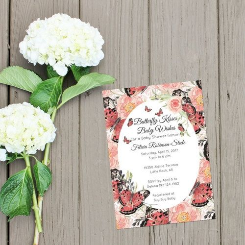 Butterfly Kisses Baby Wishes Butterfly Baby Shower Invitation Pink Red Black by…