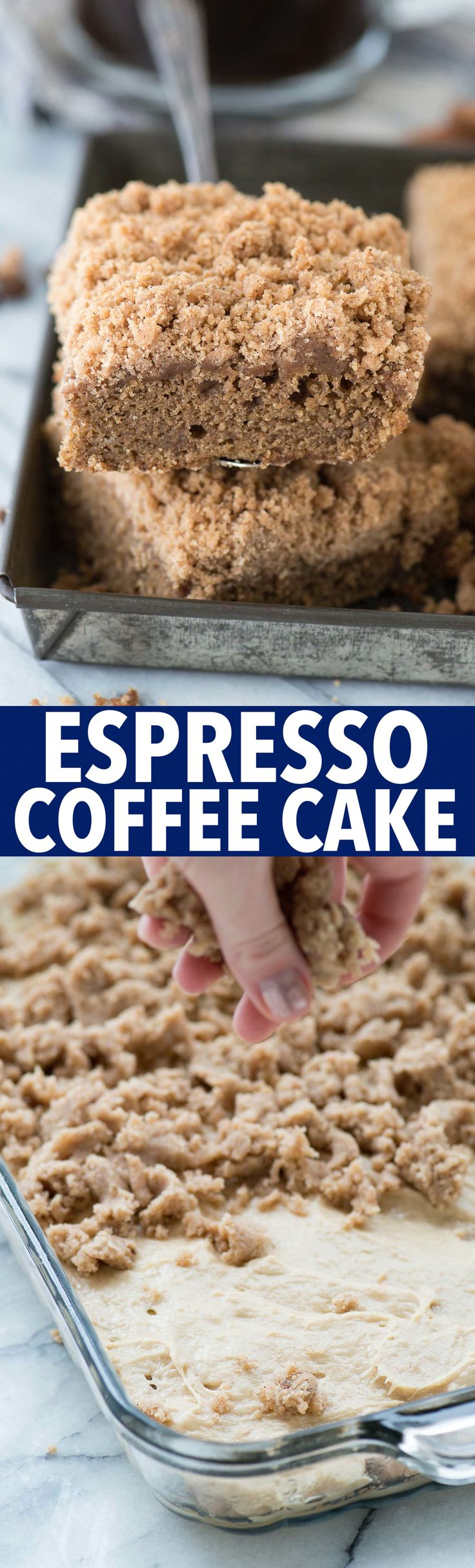 Our favorite espresso coffee cake with mile high crumb! With brewed espresso and ground espresso in the batter, this coffee cake actually tastes like coffee!
