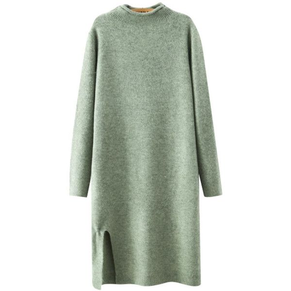 Chicnova Fashion Fluffy Sweater Dress (£23) ❤ liked on Polyvore featuring dresses, sweaters, round neck dress, textured dress, green dress, sweater dress and green sweater dress