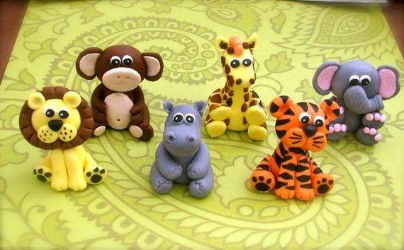 Edible 3D Fondant Jungle Safari animal set -(6)- Jungle Animals - cake and cupcake toppers via Etsy