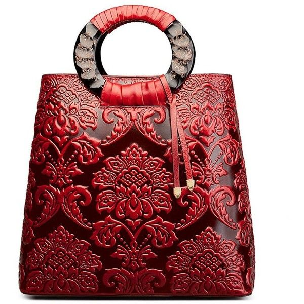 Fengyaqiandai 6013 Designer Ladies Leather Satchel Long Handbags ($216) ❤ liked on Polyvore featuring bags, handbags, red leather satchel, leather satchel purse, red leather purse, hand bags and genuine leather handbags