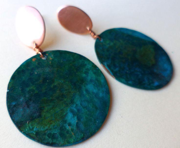 aros de cobre patinado verde<3