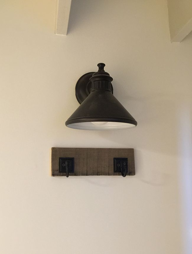 New Laundry Room: Farmhouse curtain, Ironing board & Shelf lighting | Jenna Sue Design Blog