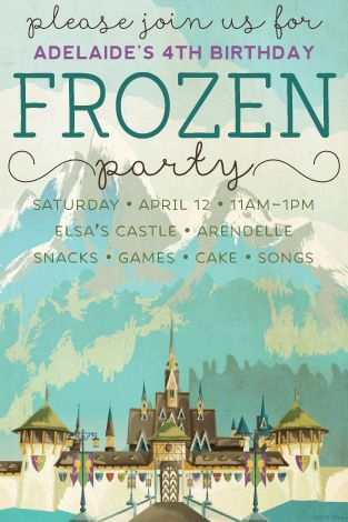 """I used""""vintage"""" Arendelle travel posters (free download) to create this #Frozen inspired party invitation for my daughter."""