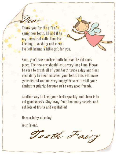 Letter To Tooth Fairy From Child