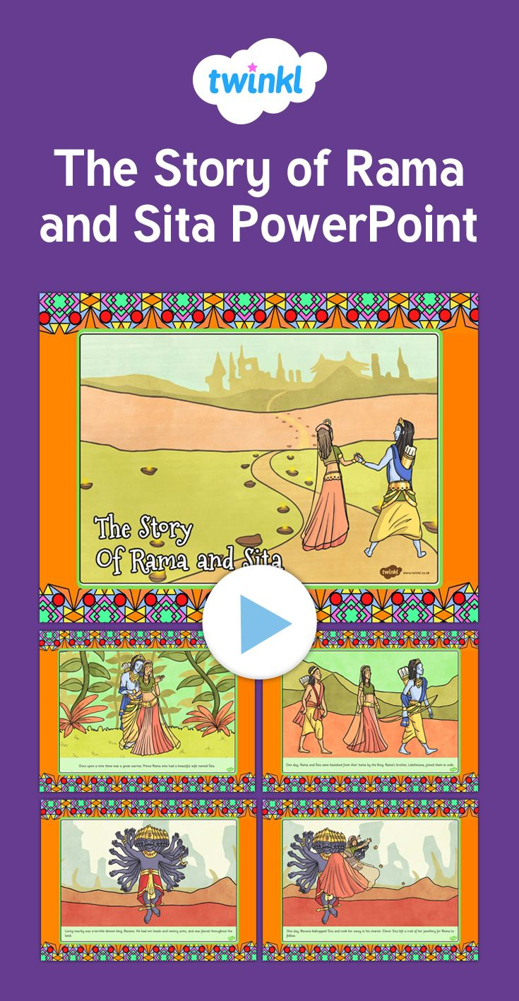 The Story of Rama and Sita PowerPoint - Tell the story of Rama and Sita as a whole class using this great PowerPoint presentation. Each slide features a different line from the story and our own lovely illustrations, so you can read and learn together