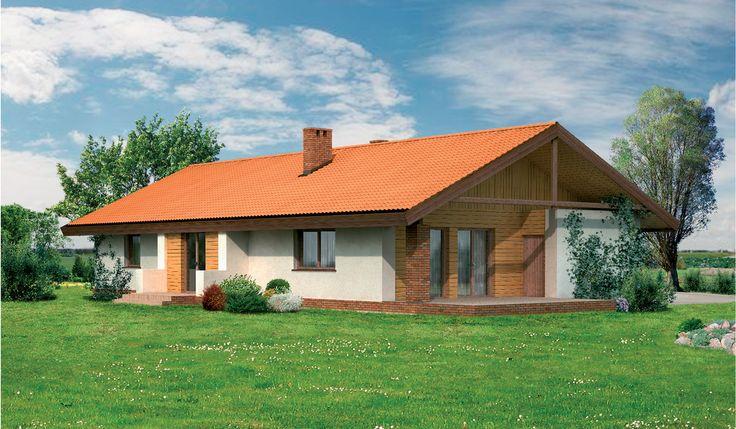 """""""Jaskółka"""" Murator WM11 - projekt z serii """"Dom piękny i prosty"""". Dom parterowy dla 4-6 osobowej rodziny. Brak wewnętrznych ścian konstrukcyjnych powoduje, iż układ wnętrza można bez problemu dopasować do indywidualnych potrzeb inwestorów."""