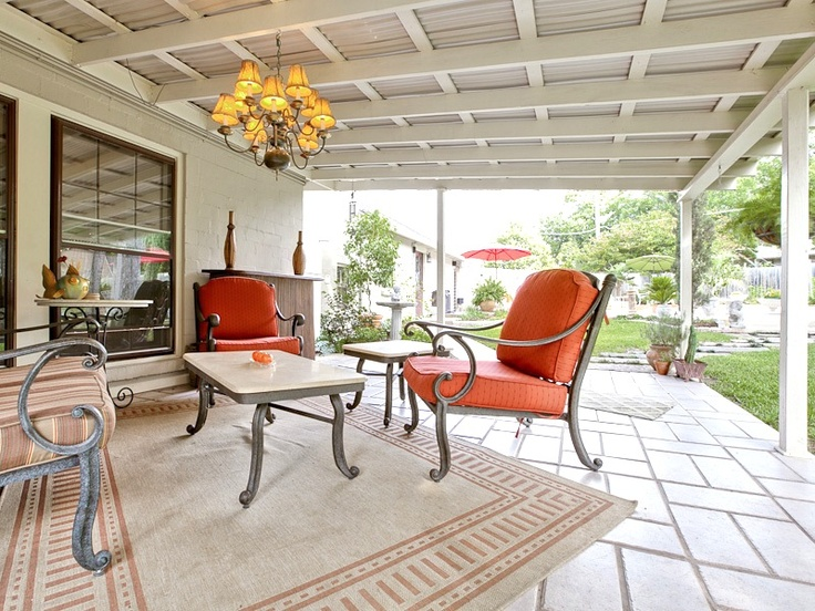 Another Lovely Covered Patio   Love The Red Chairs And Rug (2041 Mayflower  Drive,
