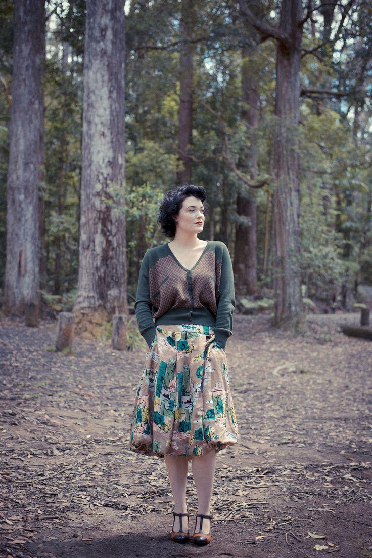 Rebecca cardigan in green with Edith skirt in Brooklyn. LAZYBONES.COM.AU