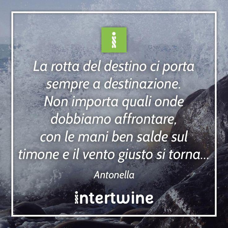 """""""La rotta del destino ci porta sempre a destinazione. Non importa quali onde dobbiamo affrontare, con le mani ben salde sul timone e il vento giusto si torna..""""  #intertwine #storytelling  #RaccontaLaTuaStoria #quotes #aforismi"""