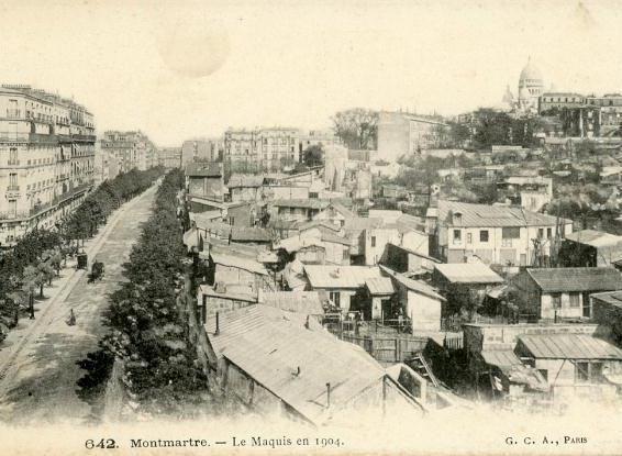 Le maquis de Montmartre en 1904.