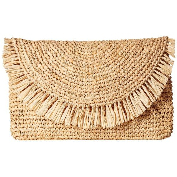 Hat Attack Sunshine Clutch (Natural/Natural) (385 PLN) ❤ liked on Polyvore featuring bags, handbags, clutches, envelope clutch bags, raffia clutches, raffia purse, beige clutches and fringe clutches