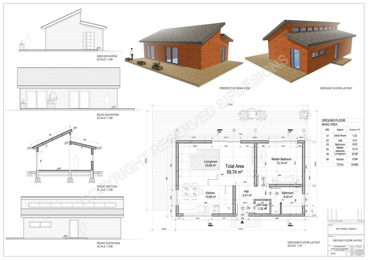 Small cottage holiday house . or just small home.  Exterior walls made from SIP panels with external insulation and interior drywall. Roof made from SIP Roof panels.  Structure: wooden framework and OSB splines connection. Estimated construction time: 4-5 days