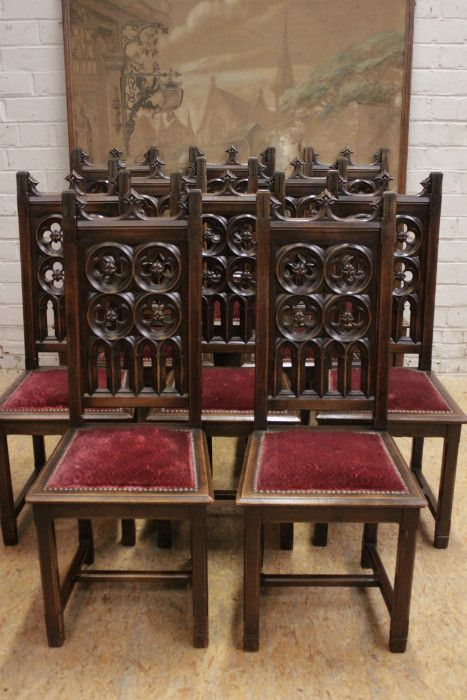 SOLD Antique French Gothic Dining Chairs Complete Set 10 Chairs Pierced  Backs in Walnut - 73 Best Gothic Furniture Images On Pinterest Gothic Furniture