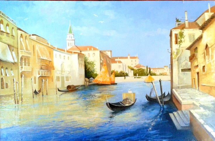 """""""Summer channels of Venice""""  Size 30x40  $150  #painting #art # design #venice #picture #water #summer #gondola #olio #nature"""