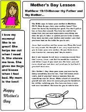 Mother's Day Sunday School Lesson for Kids