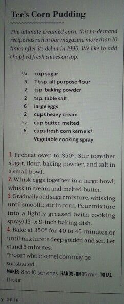 Tee's Corn Pudding: From Southern Living